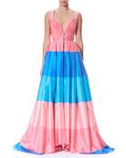 Wide-Stripe Sweetheart Cap-Sleeve Taffeta Evening Gown