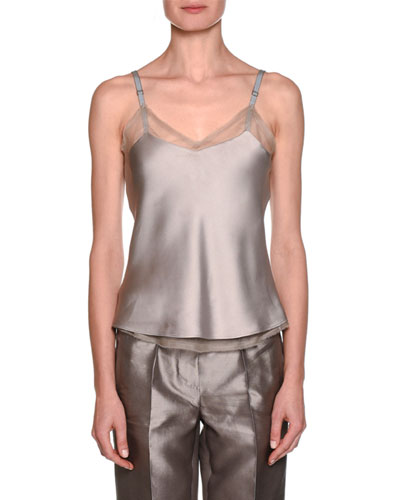 Spaghetti-Strap Silk Camisole with frayed Chiffon Trim