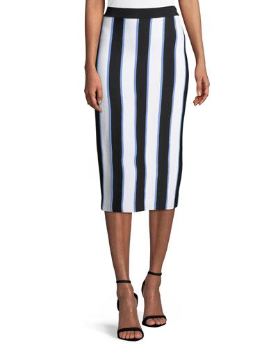 Striped Knit Pencil Midi Skirt