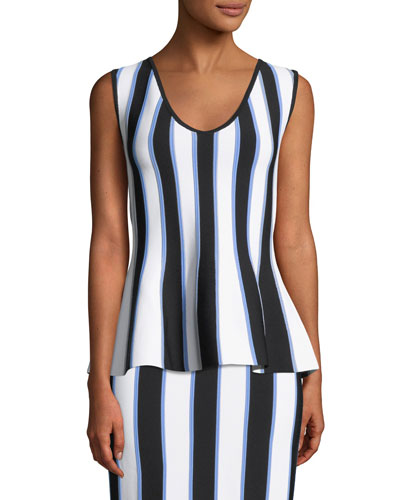 V-Neck Sleeveless Striped Knit Peplum Top
