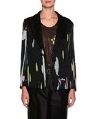 Single-Button Floral-Print Silk Jacket with Pinstripes