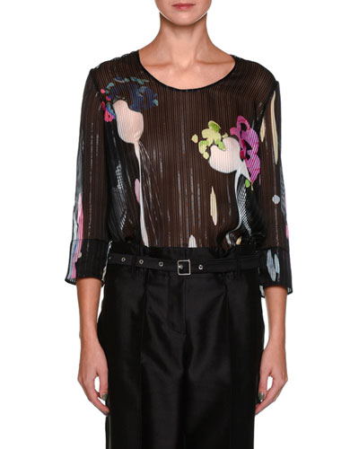 Round-Neck 3/4-Sleeve Striped Watercolor-Floral Blouse