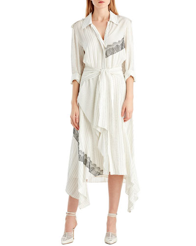 Long-Sleeve Pinstripe Silk Shirtdress w/ Lace Patches