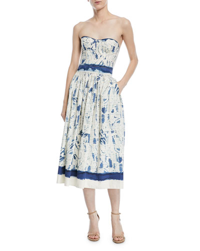 Sheena Painted Strapless Cotton Dress