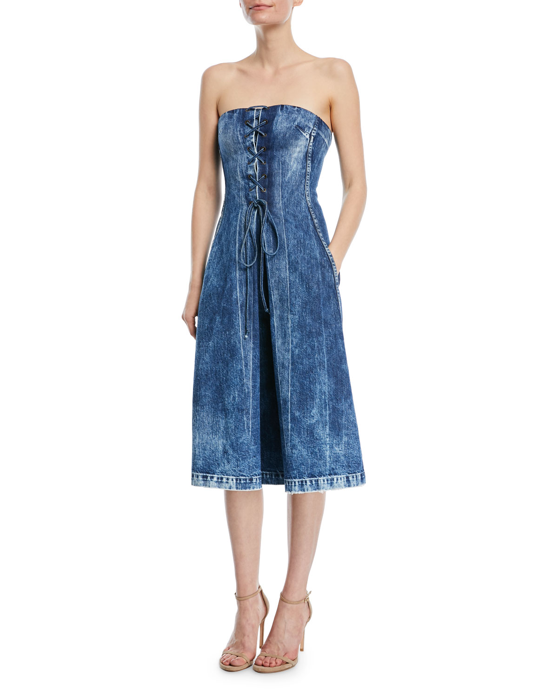 Esme Lace-Up Strapless Denim Dress