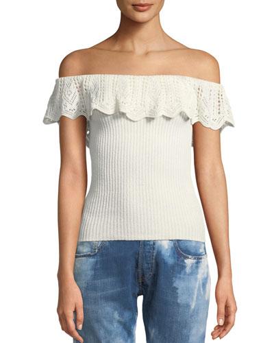 Off-the-Shoulder Crochet Ruffle Knit Top