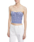 Strapless Check Bustier Top