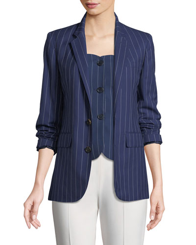 Roberts Single-Breasted Pinstriped Wool Jacket