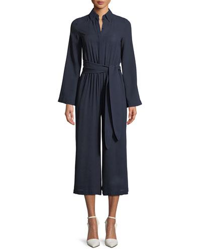 Silk Georgette Long-Sleeve Wide-Leg Belted Jumpsuit