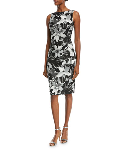 High-Neck Sleeveless Floral-Print Sheath Cocktail Dress