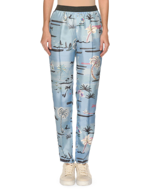 Palm-Tree Print Elastic Slim Pull-On Pants