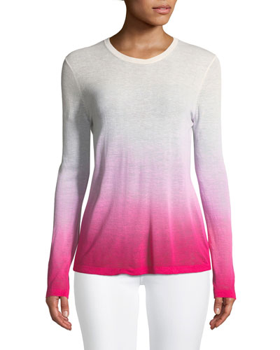 Crewneck Long-Sleeve Ombre Linen-Blend Tee