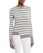 Crewneck Long-Sleeve Striped Sweater with Step-Hem