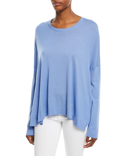 Crewneck Long-Sleeve Draped Cashmere Pullover Sweater