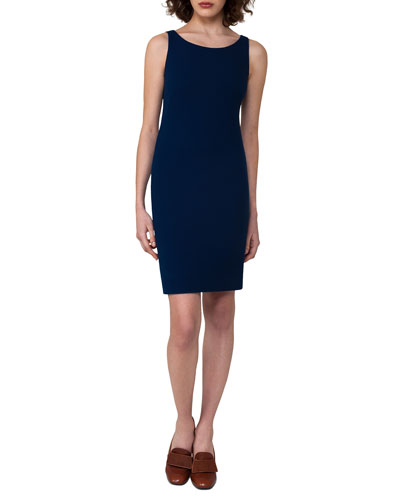 Sleeveless Wool Crepe Sheath Dress