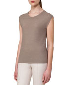 Cap-Sleeve Scoop-Neck Top