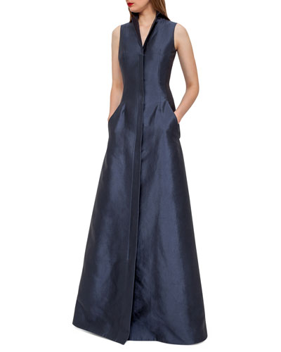 Sleeveless Shantung Gown w/Back A-Cutout