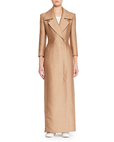 Addy Notched-Collar Straight Double-Face Silk Coat