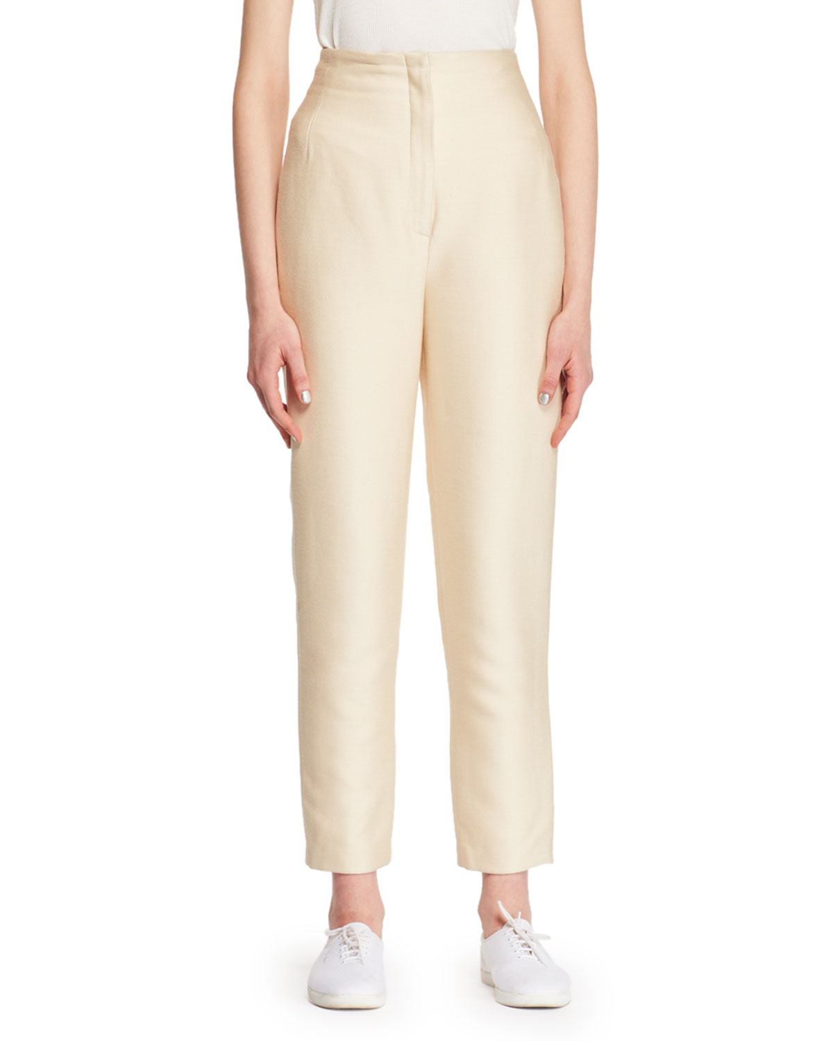 Vivienne Silk Straight-Leg Pants