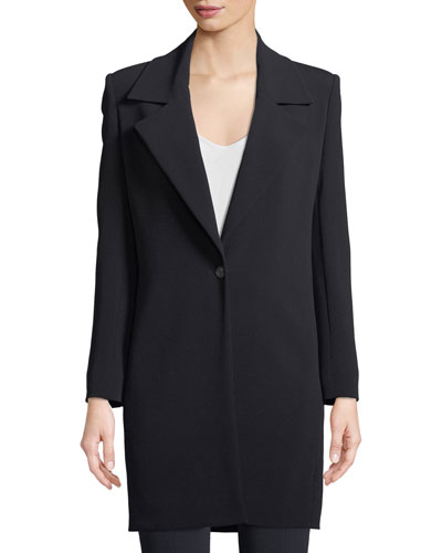 Kelvin One-Button Long Crepe Blazer