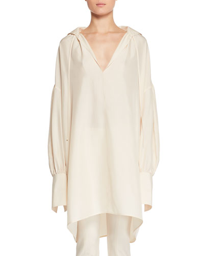 Darma Deep-V Long-Sleeve Silk Tunic Top