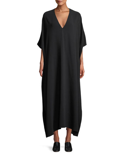 Vikita Surplice Long-Sleeve Cady-Stretch Long Dress