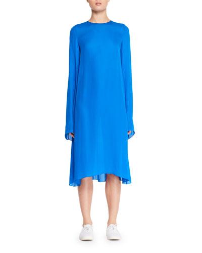 Bantoi Crewneck Long-Sleeve Silk Midi Dress