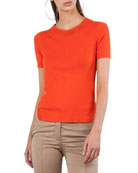 Round-Neck Short-Sleeve Knit Top with Crochet Trim