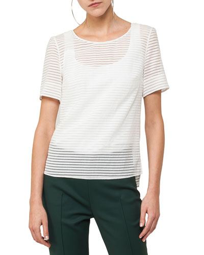 Short-Sleeve Tonal-Stripe Blouse