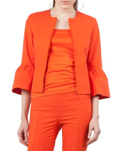 Zip-Front 3/4-Sleeve Jacket
