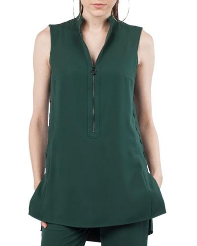 Zip-Front Sleeveless Techno Jersey Tunic Blouse