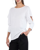 Round-Neck 3/4-Sleeve Pullover Knit Top with Cutout Detail