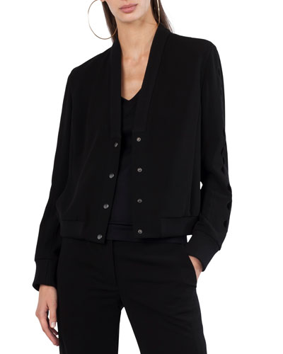 Snap-Front Techno Bomber Jacket with Sleeve Cutouts