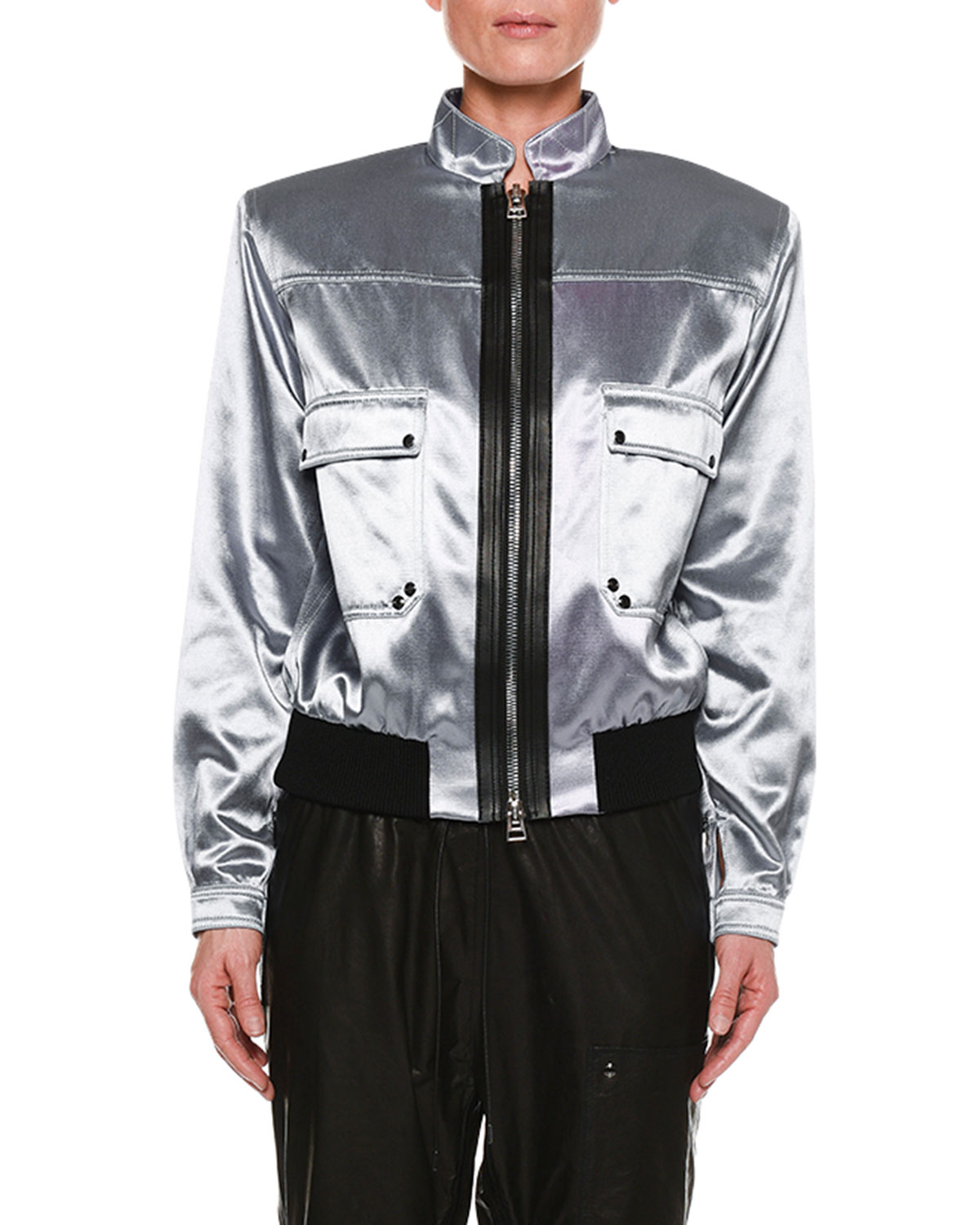 Iridescent Sateen Bomber Jacket