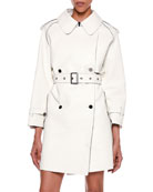 Contrast-Trim Bonded Leather Trench Coat
