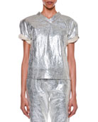 Roll-Sleeve Metallic-Coated T-Shirt