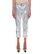 Rolled-Cuff Metallic-Coated Cropped Boyfriend Jeans