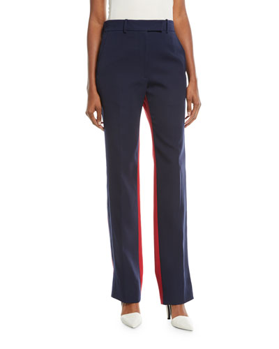 Bicolor Straight-Leg Wool Pants
