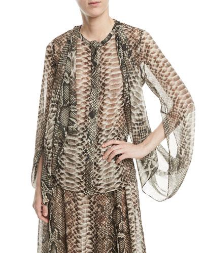 Snake-Print Long Cape Sleeves Georgette Top