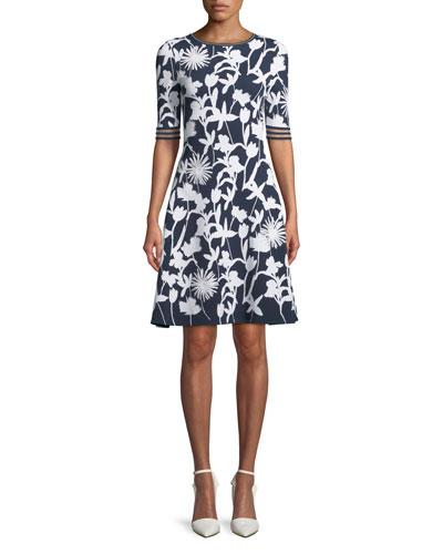 Short-Sleeve 3D Floral Dress