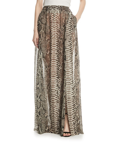 Long Snake-Print Crepe Georgette A-Line Skirt