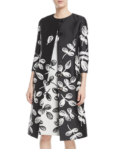 Fern-Embroidered Sateen Coat