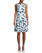 Boat-Neck Floral-Print Dress with Pockets