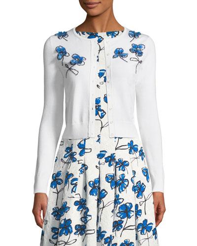 Floral-Applique Wool Cardigan