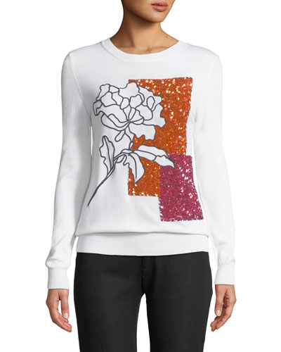 Crystal-Embellished Crewneck Pullover Sweater
