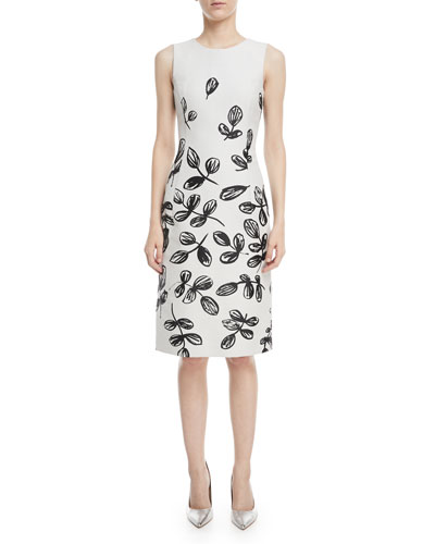 Fern-Print Sleeveless Sheath Dress