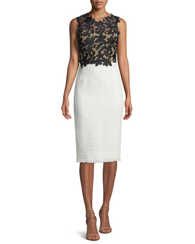 Sleeveless Lace-Top Tweed Skirt Sheath Dress