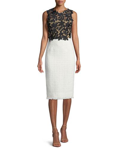 Sleeveless Lace-Top Tweed Skirt Sheath Dress
