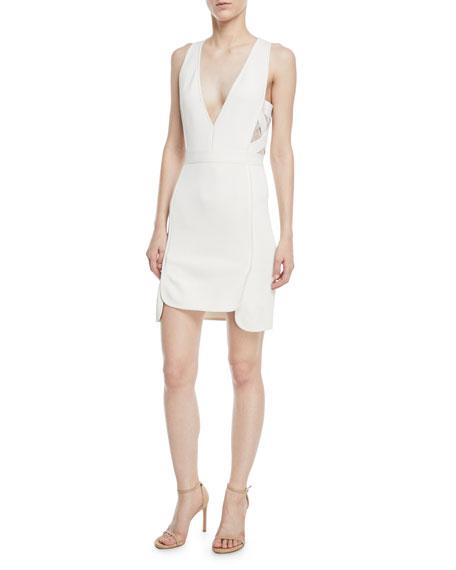 Elie Saab Sleeveless Deep-V Crepe Sheath Dress w/ Lace Sides