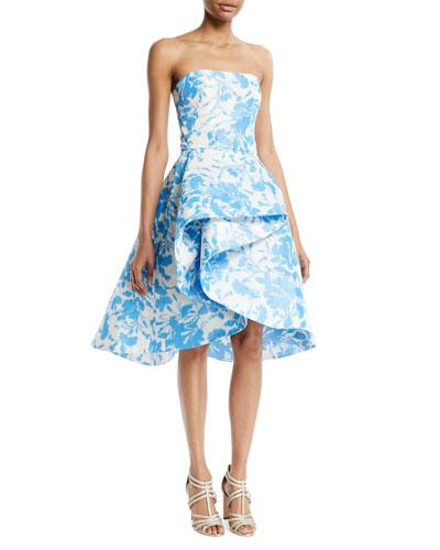 Strapless Draped Floral-Print Taffeta Cocktail Dress